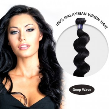 malaysian human virgin hair weft deep wave